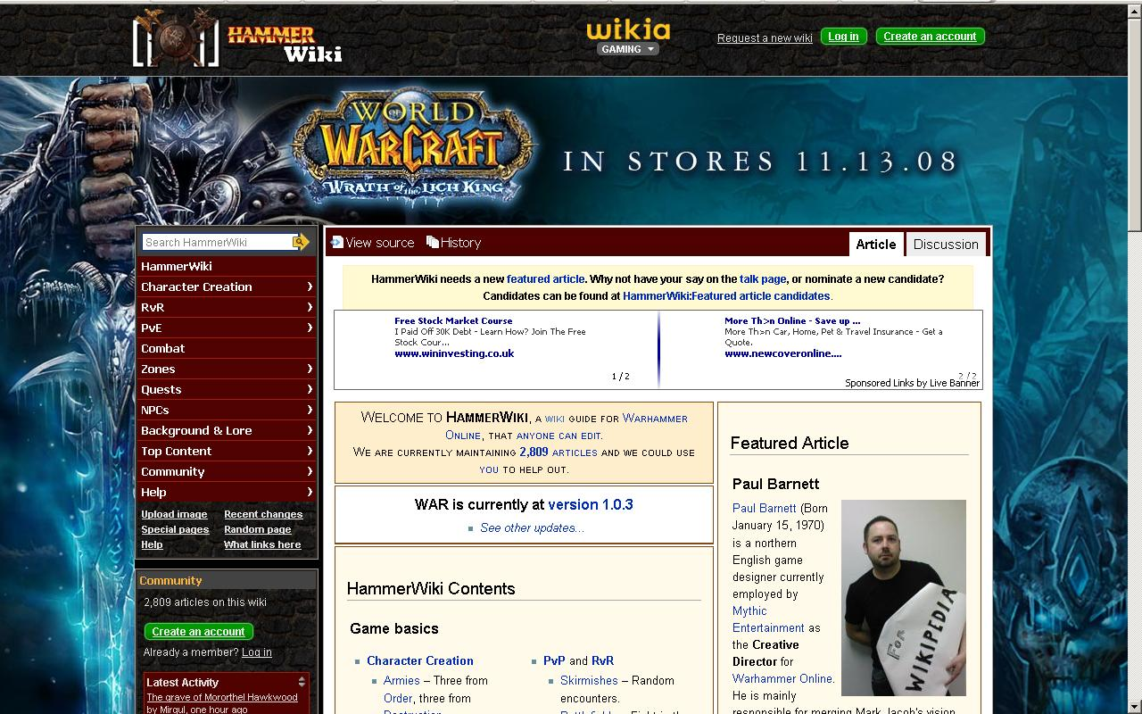 Warhammer Online Wikia promotes WoW