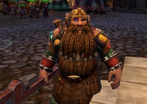 Osgard showing off his Welcome Back reward trophies in Altdorf, in Warhammer Online.