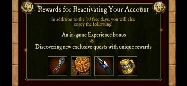Warhammer Online Reactivation Reward for Returning Players