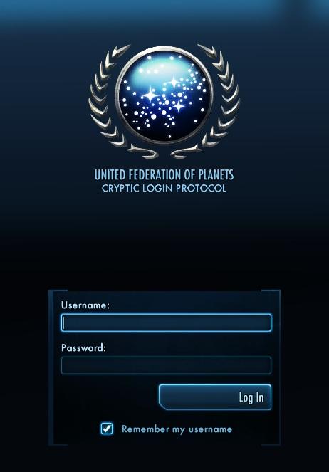 Star Trek Online Login Screen