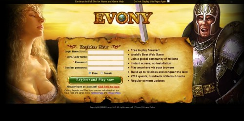 Evony Welcome Screen 500x249