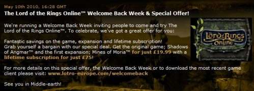 Codemasters Lotro Lifetime Subscription Offer 499x179