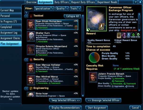 Star Trek Online Officer Exchange Duty Officer Mission